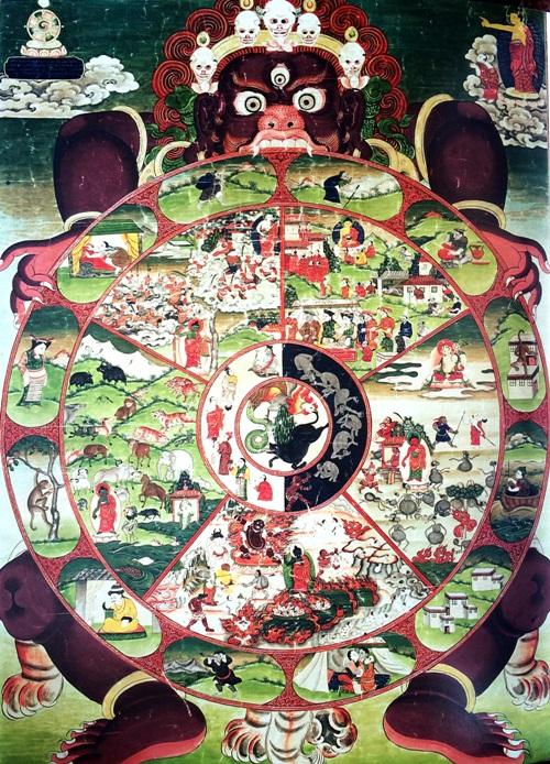 具有西藏传统绘画风格的拉萨之图
