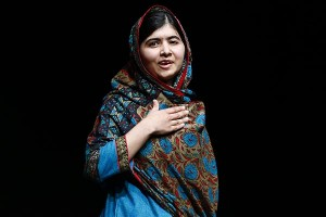Pakistani schoolgirl Malala Yousafzai speaks at Birmingham library in Birmingham