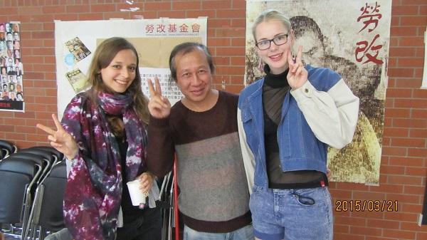 会员吴非与参加双语诗歌朗诵的丹麦和瑞士留学生