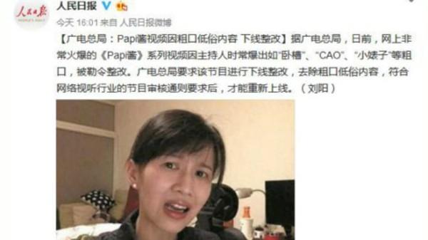 人民日报官方微博对papi酱勒令整改的截屏