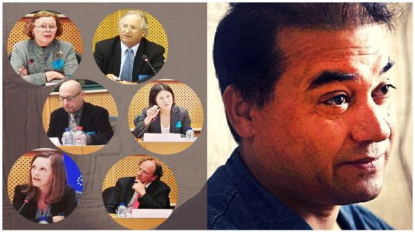 国际伊力哈木倡议组织推荐伊力哈木为今年萨哈洛夫思想自由奖候选人。左上角为侯芷明教授