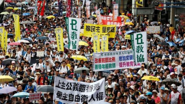 香港回归19年民主派举行7.1游行