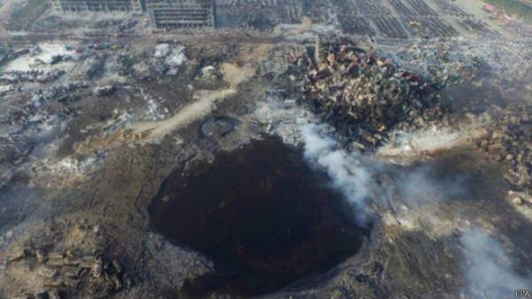 天津港大爆炸现场有一个60公尺宽、6公尺深的爆炸大坑