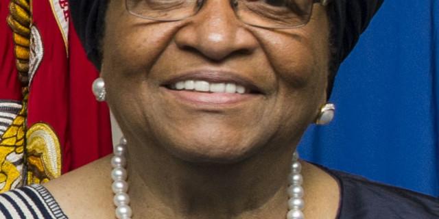 Secretary of Defense Ash Carter hosts an honor cordon for Liberian President Ellen Johnson Sirleaf at the Pentagon Feb. 25, 2015. (DoD photo by Petty Officer 2nd Class Sean Hurt/Released)