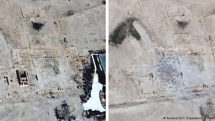 卫星图片巴尔夏明神庙被炸前后的画面