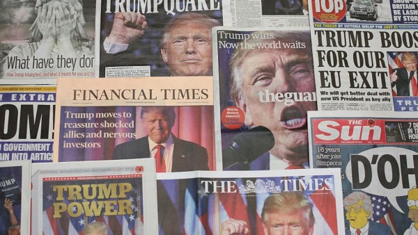 LONDON, ENGLAND - NOVEMBER 10: British newspapers show U.S. Republican candidate and President Elect Donald Trump on their front pages the day after Trump was announced the winner in U.S. presidential elections on November 10, 2016 in London, England. The American public have voted for the Republican candidate Donald Trump to be the 45th President of the United States. After 46 of the 50 States declared he had 278 of the 538 electoral college votes and Hillary Clinton conceded defeat in a telephone call. British Prime Minister Theresa May congratulated Trump releasing a statement promising to work with him to build on the special relationship between the UK and the USA. (Photo Illustration by Dan Kitwood/Getty Images)