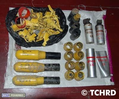 中共警察鎮壓藏人時所使用的瓦斯等的彈殼殘餘