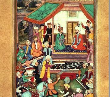 莫卧尔王朝时期的宫廷绘画 表现的是两位汗王的相见