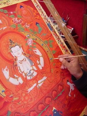 藏人唐卡画家在绘制唐卡