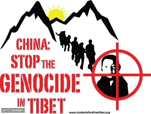 4、国际声援西藏学生组织sft为呼吁中国停止杀戮而设计的海报