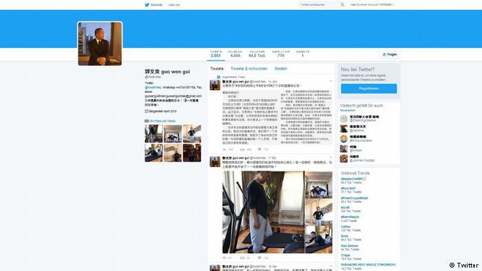 郭文贵推特的截屏