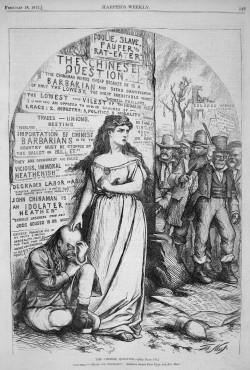 一个白人妇女保护一个华人免受爱尔兰人袭击