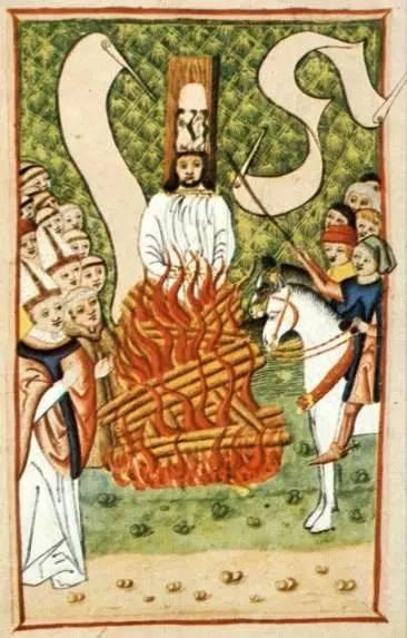 捷克思想家扬•胡斯被天主教宗教裁判所处以火刑