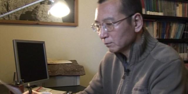 视频截图显示刘晓波在家里阅读一个文件(2008年1月6日)