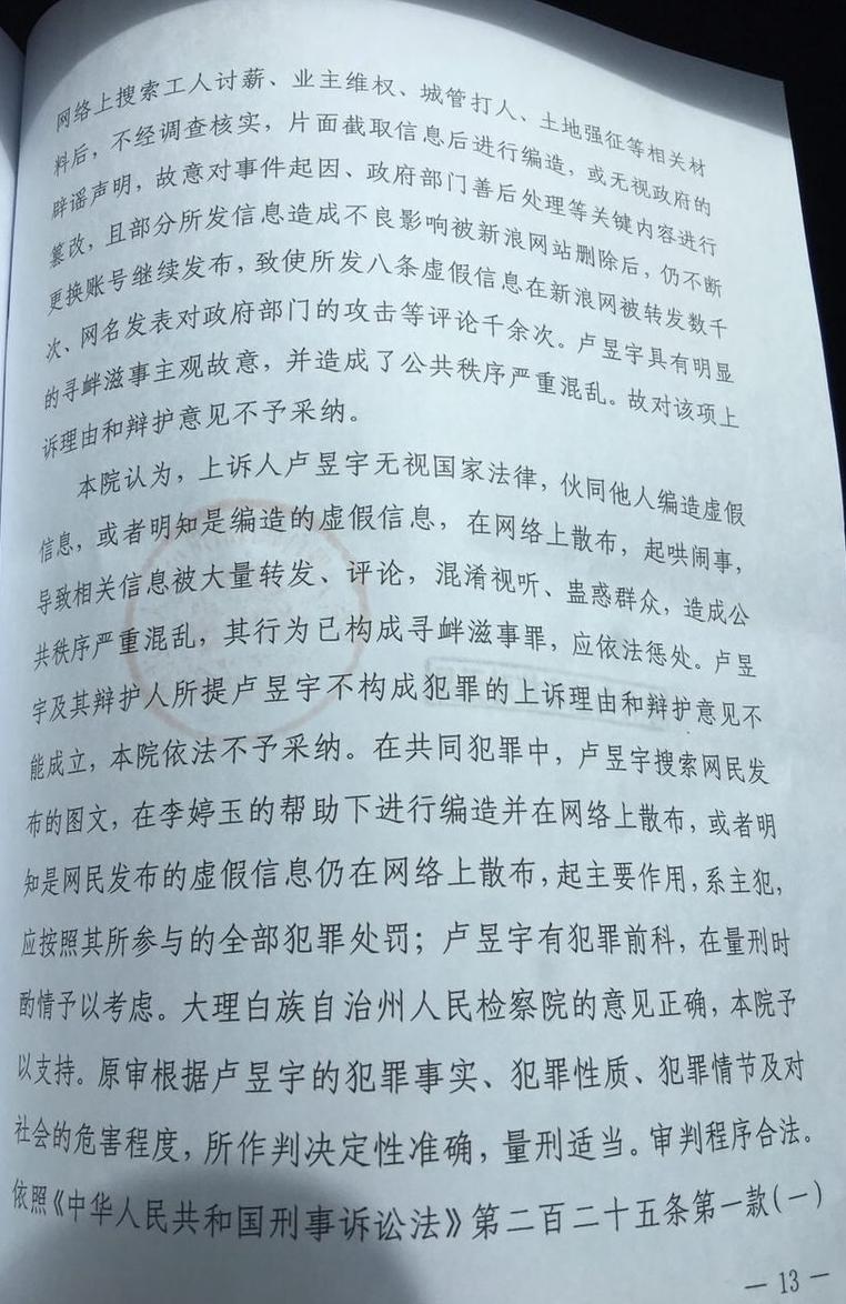 卢昱宇二审裁定书13