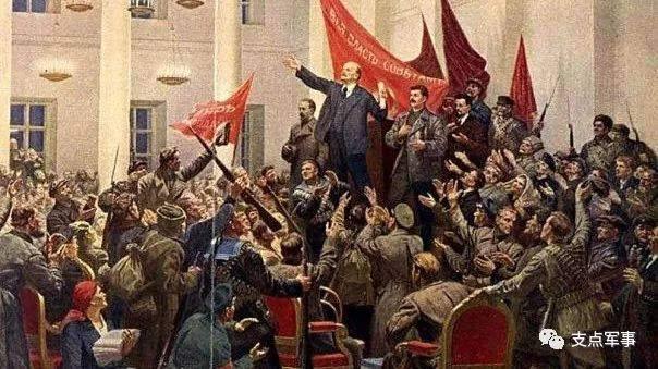 描绘列宁1918年解散立宪会议,宣布一切权力归苏维埃的油画