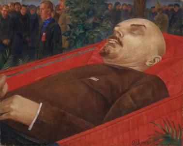 油画1 库兹马·彼得罗夫·沃德金:《列宁棺旁》1924年