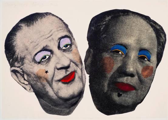 蚀刻版画 吉姆·戴恩:绊脚石-约翰逊和毛泽东1967年