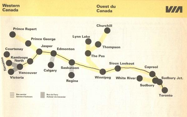 图中黑线即由多伦多至温哥华的火车路线