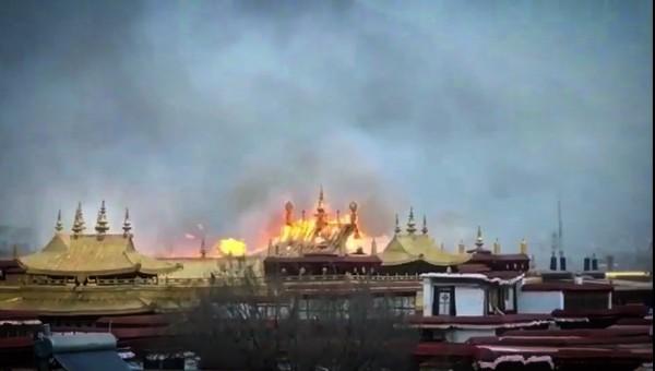 2018年2月17日傍晚,拉萨大昭寺发生火灾